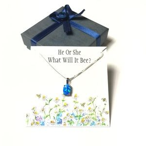 Jewelry - Gender Reveal: Blue Opal Sterling Gift Necklace